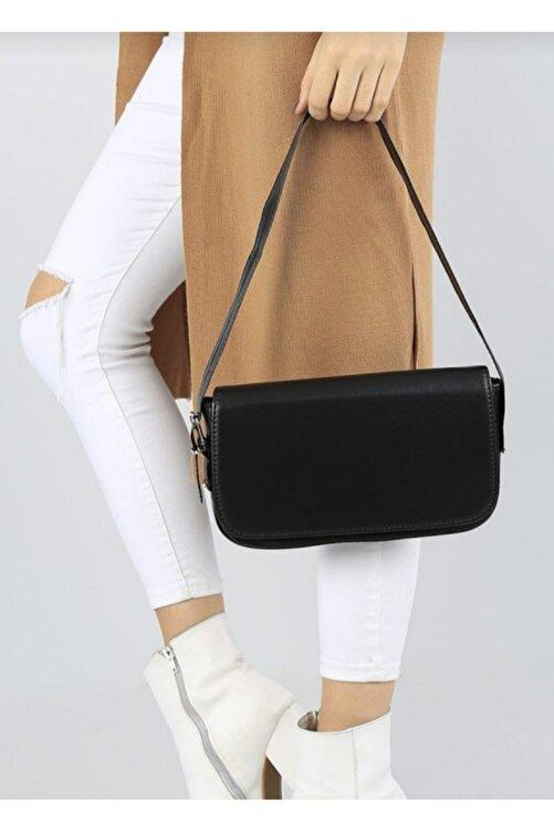 bag&more Kadın Siyah Kapaklı Baget Çanta 2