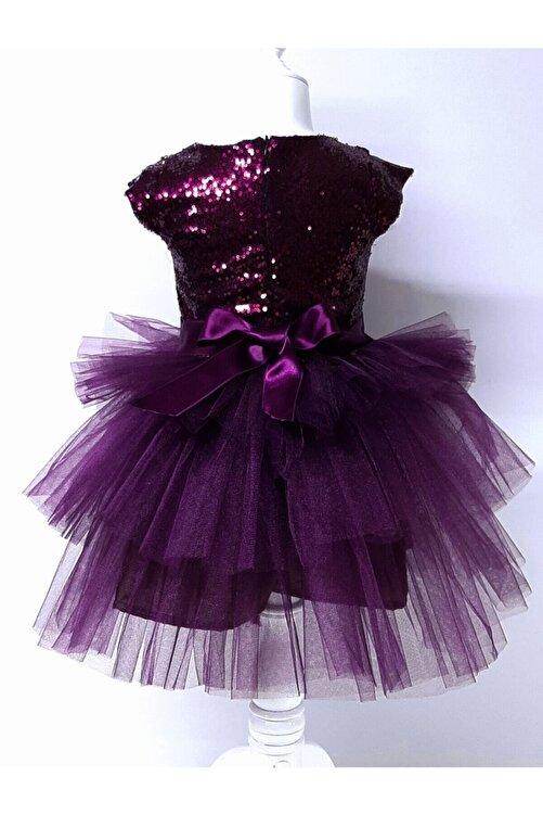 Durumini Kız Çocuk Mürdüm Tüllü Pul Payetli Parti Elbisesi 2