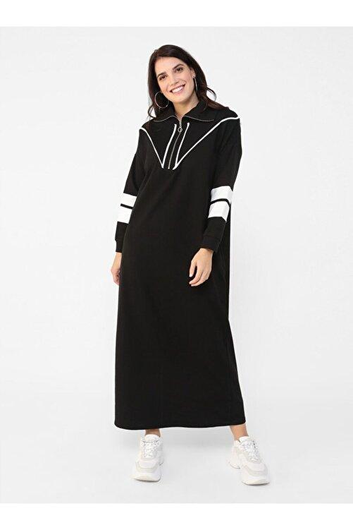 ALİA Büyük Beden Biye Detaylı Elbise - Siyah Beyaz - 1
