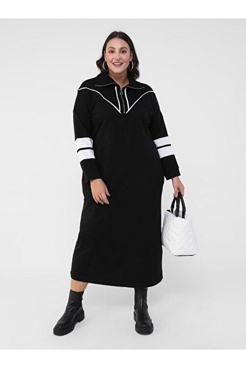 ALİA Büyük Beden Biye Detaylı Elbise - Siyah Beyaz - 2