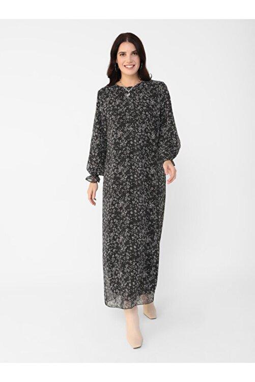 ALİA Kadın Siyah  Büyük Beden Desenli Şifon Elbise 2