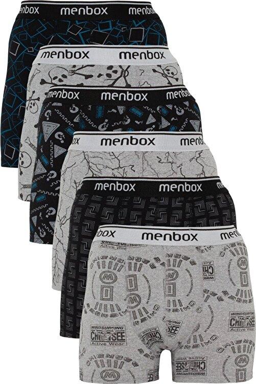 MENBOX 6'lı Desenli Likralı Klasik Erkek Boxer 1