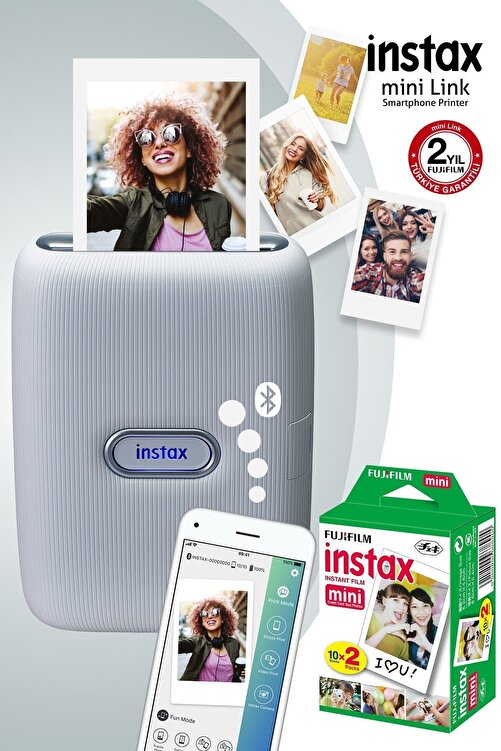 Fujifilm Instax mini Link Beyaz Akıllı Telefon Yazıcısı ve 20'li mini Film 1