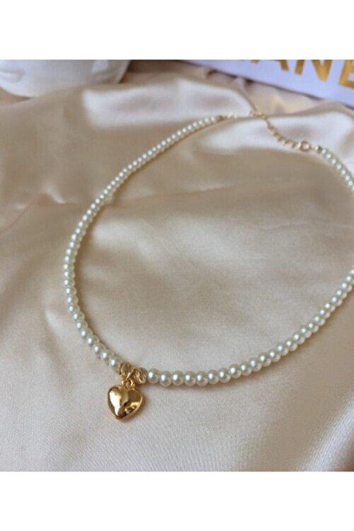 Ophelia Aksesuar Incili Gold Kalp Uçlu Kolye 2