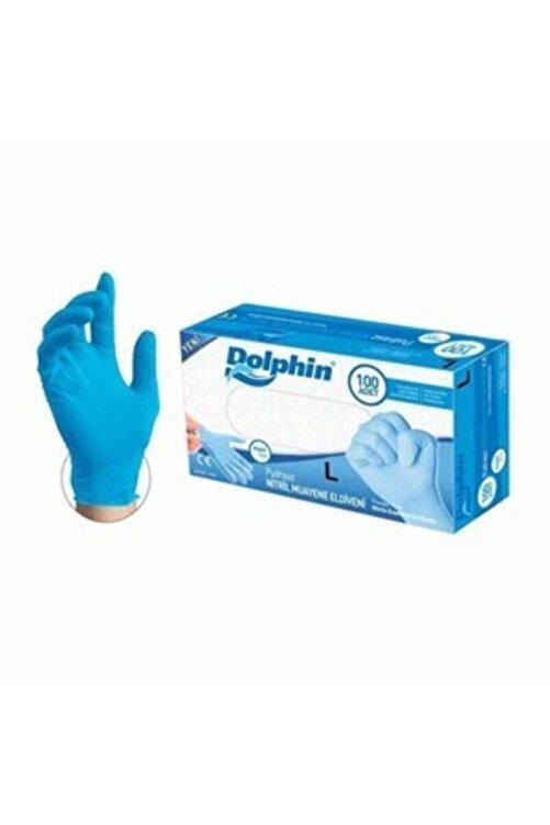 Dolphin Mavi Nitril Eldiven Pudrasız 100lü Paket ( L ) Beden 1