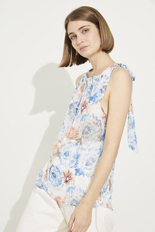 adL Kadın Emp.Coral Yakası Bağlamalı Desenli Kolsuz Bluz 1