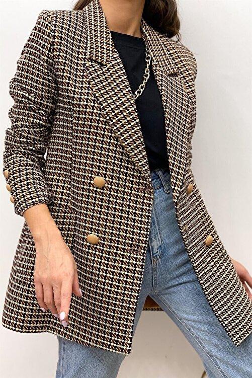 Modayıldızlar Kadın Kahverengi Desenli Blazer Ceket 1