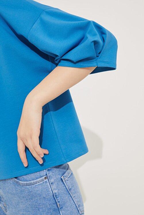 adL Kadın Mavi Kolları Pileli Crop Bluz 2