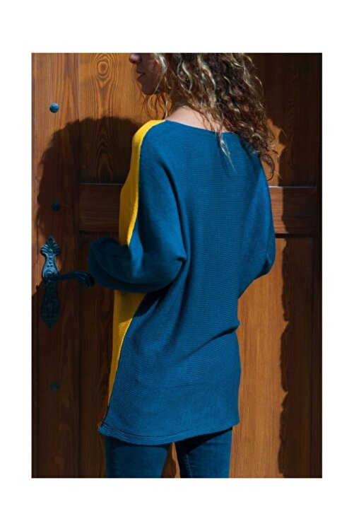 Güneşkızı Kadın Sarı-Laci Color Block Kazak GK-CCKYN1002 2