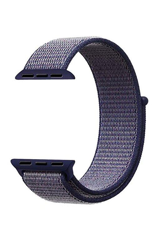 Robotekno Apple Watch Dokuma Kordon Kayış 7 - 6 - Se - 5 - 4 - 3 - 2 - 1 38mm 40mm - Mavi Siyah 1