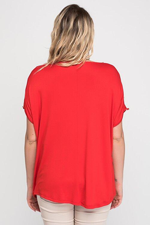 Şans Kadın Kırmızı Omuz Dekolteli İnci Detaylı Viskon Bluz 65N15453 2