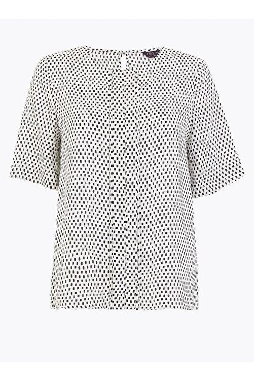 Marks & Spencer Kadın Bej Desenli Kısa Kollu Bluz T43002589 1