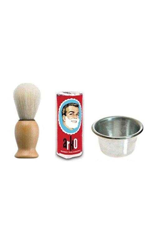 ARKO Sakal Fırçası + Arko Sabun + Köpürtme Tası Tıraş Seti 1