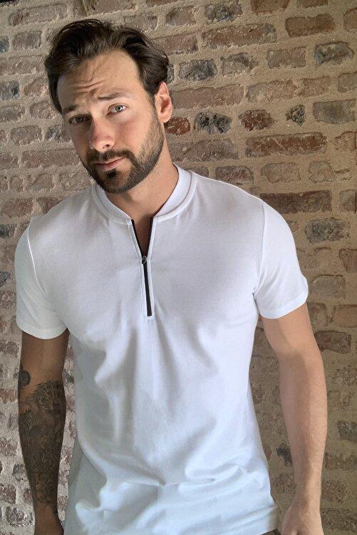 TRENDYOL MAN Beyaz Erkek Slim Fit Fermuarlı T-Shirt TMNSS20TS0966 2