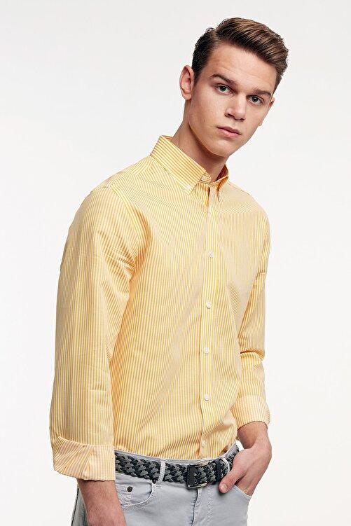 Hemington Sarı Beyaz Çizgili Ince Spor Gömlek 1