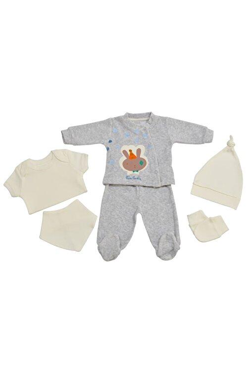 Pierre Cardin Baby Pierre Cardin Kadife Yenidoğan Takımlı Bebek Seti Gri-melanj 1
