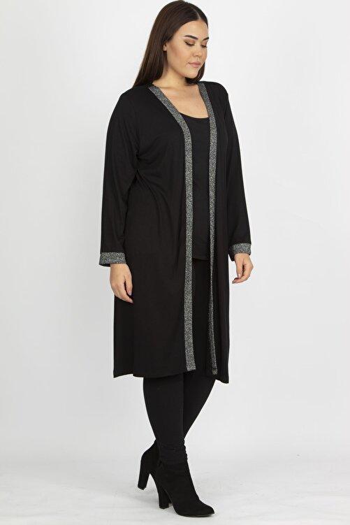 Şans Kadın Siyah Sim Detaylı Uzun Hırka 65N19839 1