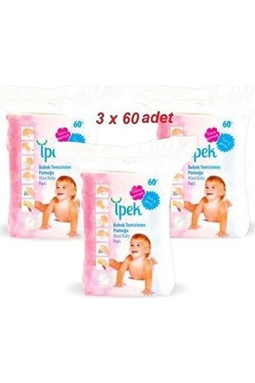 İpek Maxi Bebek Temizleme Pamuğu 60'lı 3 Paket 1