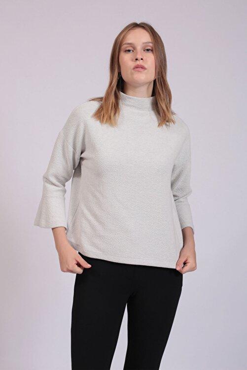 Hanna's by Hanna Darsa Kadın Beyaz Yarım Balıkçı Yaka Kolları Volanlı Bluz  HN2755 1