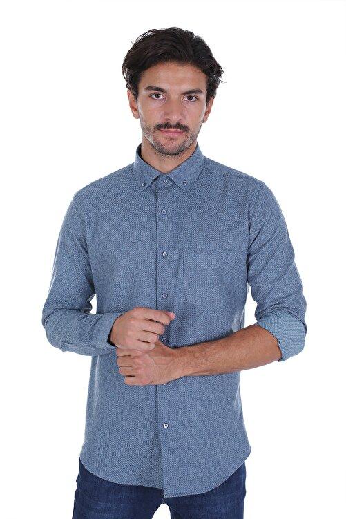 Diandor Erkek Lacivert Düz Renk Oduncu Gömlek 1