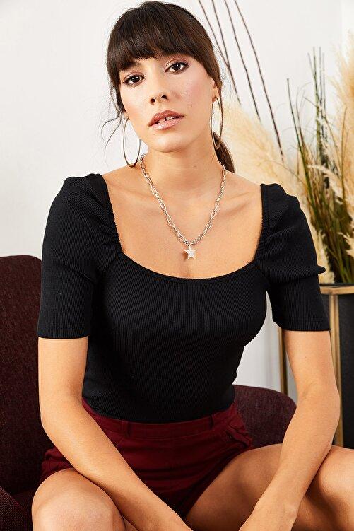 Olalook Kadın Siyah Kare Yaka Kaşkorse Bluz BLZ-19001383 2