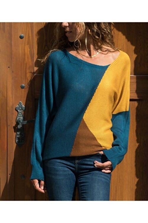 Güneşkızı Kadın Sarı-Laci Color Block Kazak GK-CCKYN1002 1