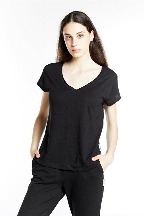 DAKSEL MODA Siyah V Yaka Flamlı Pamuk Örme Tshirt 2