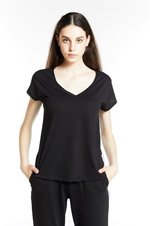 DAKSEL MODA Siyah V Yaka Flamlı Pamuk Örme Tshirt 1