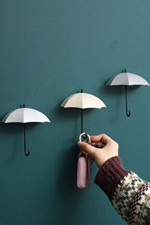 FERHOME Dekoratif Şemsiye Askılık 4'lü Set Takı Anahtar Aksesuar Askı Ev Duvar Dekorasyon Ürünleri 1