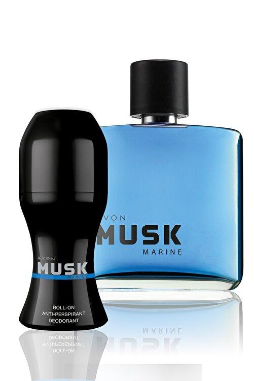 AVON Musk Marine Erkek 75ml EDT +  Roll-On Deodorantlı Parfüm Seti 1
