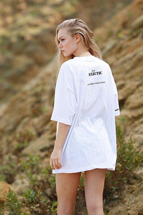 Eclectic Kadın Beyaz Oversize Tshirt 2