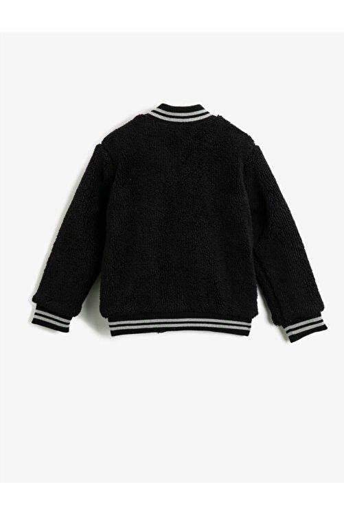 Koton Erkek Çocuk Siyah Peluş Düğmeli Bomber Yaka Sweatshirt 2