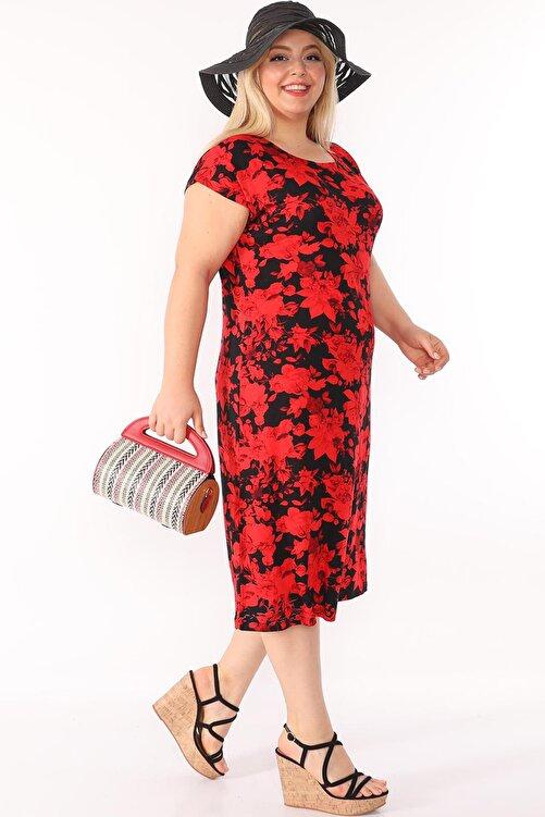 ASOTREND Kadın Büyük Beden Elbise Kısa Kollu Siyah Üzerine Kırmızı Çiçek Desenli Bisiklet Yaka Diz Altı 1