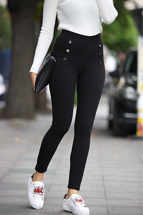 Grenj Fashion Kadın Siyah Düğme Ve Çıma Detaylı Yüksek Bel Toparlayıcı Tayt 1