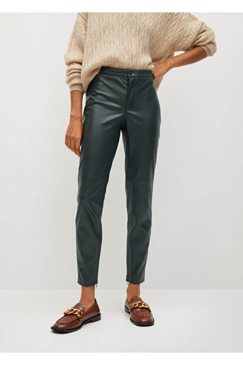 Mango Kadın Yeşil Dar Kesim Suni Deri Pantolon 2