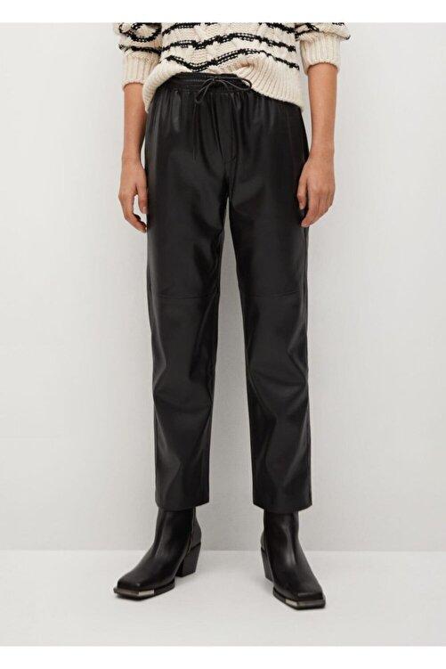 MANGO Woman Kadın Deri Görünümlü Beli Elastik Pantolon 2