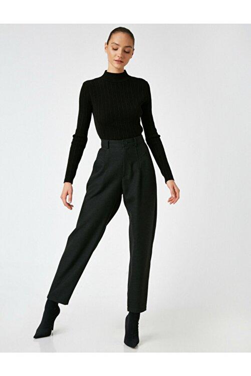 Koton Kadın Siyah Yüksek Bel Mom Pantolon 1