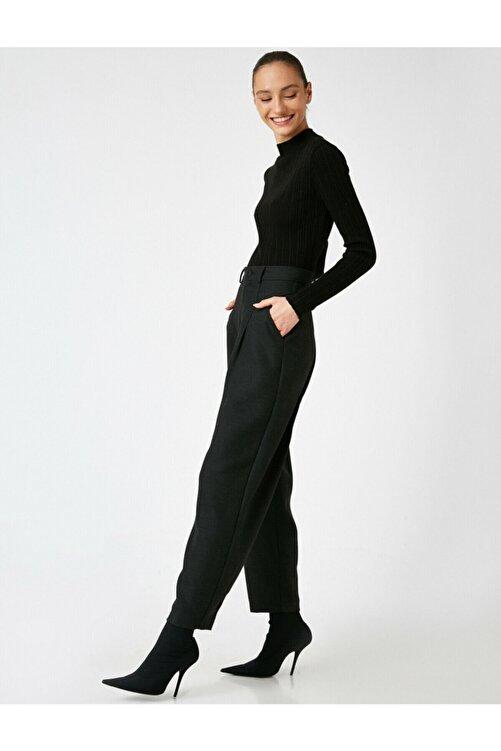 Koton Kadın Siyah Yüksek Bel Mom Pantolon 2