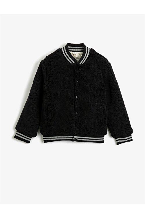 Koton Erkek Çocuk Siyah Peluş Düğmeli Bomber Yaka Sweatshirt 1