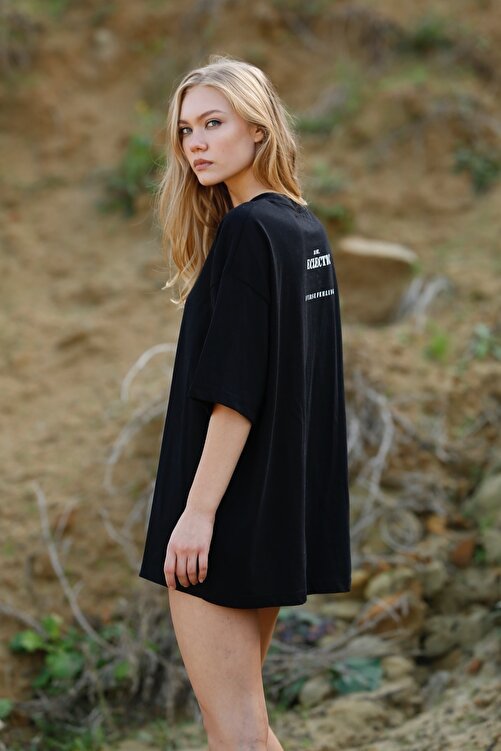 Eclectic Kadın Siyah Oversize Tshirt 1