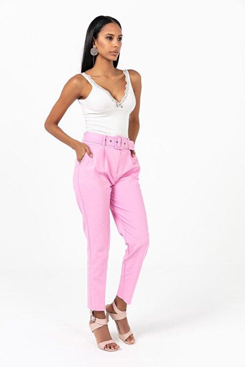 Zafoni Kadın Pembe Beli Kemerli Havuç Pantolon 1