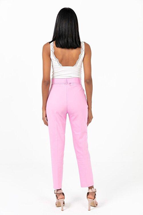 Zafoni Kadın Pembe Beli Kemerli Havuç Pantolon 2