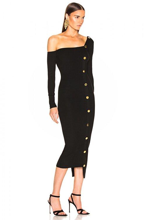 By Umut Design Kadın Siyah Düğme Detaylı Tek Omuz Elbise 4500616 2