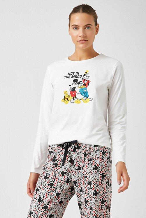 Koton Kadın Grı Melange Desenli Pijama Takımı 1KLK79321MK 2