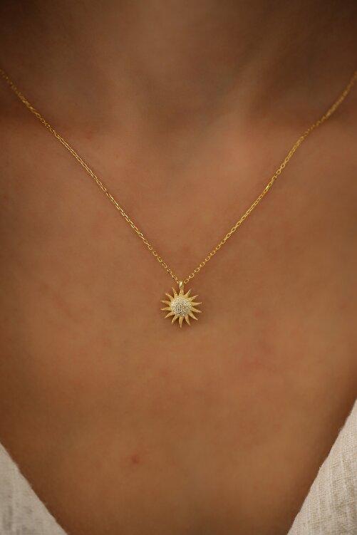İzla Design Kadın Güneş Model Altın Kaplama Zirkon Taşlı Gümüş Kolye PKT-İZLASLVR00661 2