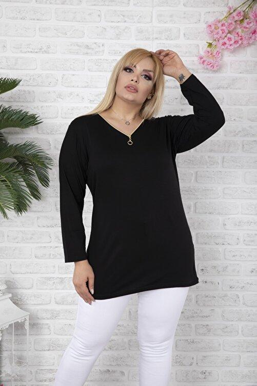 EGZ BUTİK Kadın Siyah Klasik Fermuarlı Büyük Beden Bluz 2
