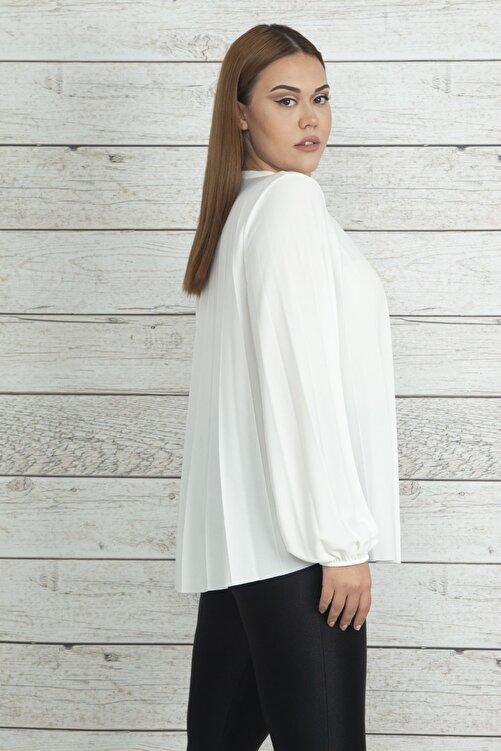 Şans Kadın Kemik Piliseli Kol Ağzı Lastik Detaylı Bluz 65N20337 2