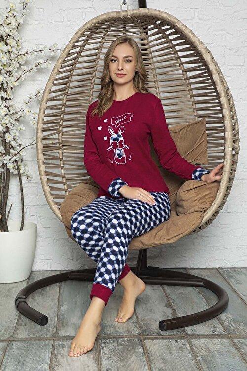 Kompedan Kadın  Bordo Desenli Polar Pijama Takımı Rnd 5808 2