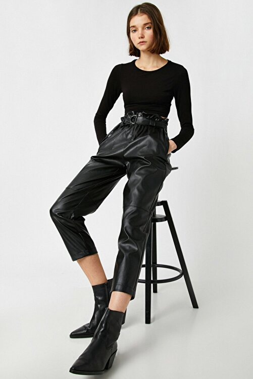 Koton Kadın Siyah Deri Görünümlü Yüksek Bel Kemerli Pantolon 1KAL48060IW 1