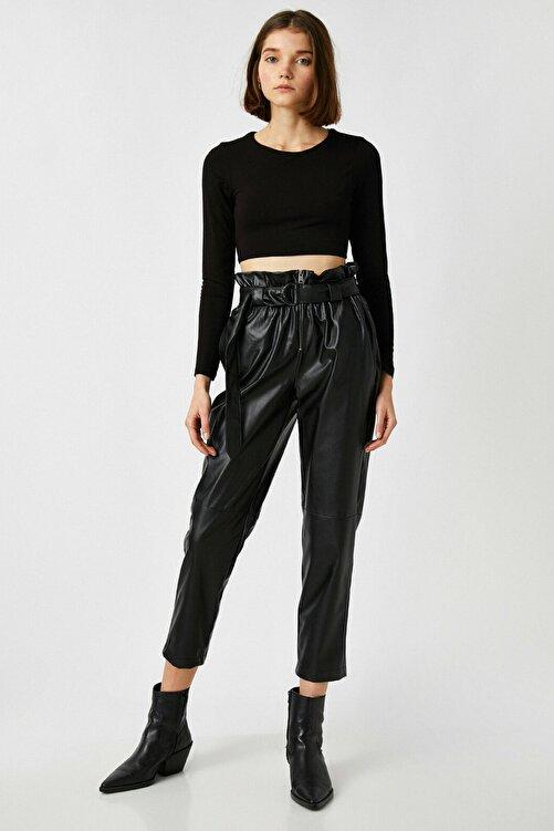 Koton Kadın Siyah Deri Görünümlü Yüksek Bel Kemerli Pantolon 1KAL48060IW 2